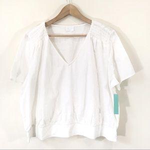 Abound Cotton White V Neck Blouse Sz XXL New